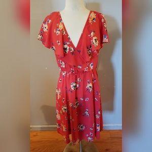 Soprano floral wrap dress size large
